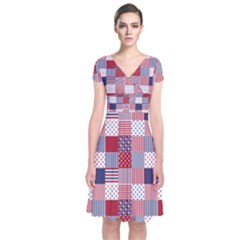 Usa Americana Patchwork Red White & Blue Quilt Short Sleeve Front Wrap Dress