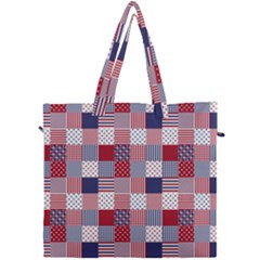 Usa Americana Patchwork Red White & Blue Quilt Canvas Travel Bag by PodArtist
