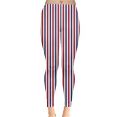 Usa Flag Red And Flag Blue Narrow Thin Stripes  Leggings  by PodArtist
