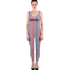 Usa Flag Red And Flag Blue Narrow Thin Stripes  One Piece Catsuit by PodArtist