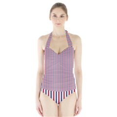 Usa Flag Red And Flag Blue Narrow Thin Stripes  Halter Swimsuit by PodArtist