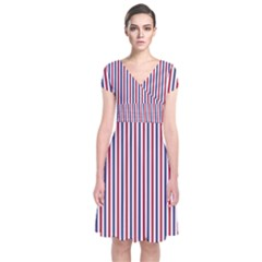 Usa Flag Red And Flag Blue Narrow Thin Stripes  Short Sleeve Front Wrap Dress by PodArtist