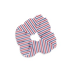 Usa Flag Red And Flag Blue Narrow Thin Stripes  Velvet Scrunchie by PodArtist