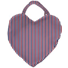 Usa Flag Red And Flag Blue Narrow Thin Stripes  Giant Heart Shaped Tote by PodArtist