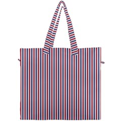 Usa Flag Red And Flag Blue Narrow Thin Stripes  Canvas Travel Bag by PodArtist