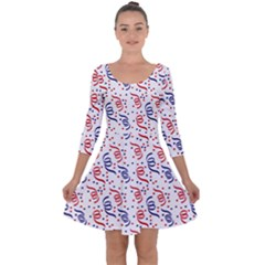 Red White And Blue Usa/uk/france Colored Party Streamers Quarter Sleeve Skater Dress