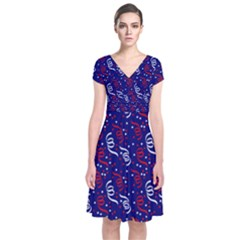 Red White And Blue Usa/uk/france Colored Party Streamers On Blue Short Sleeve Front Wrap Dress