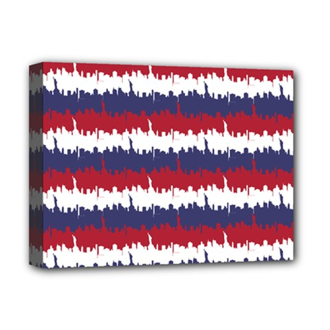 244776512ny Usa Skyline In Red White & Blue Stripes Nyc New York Manhattan Skyline Silhouette Deluxe Canvas 16  X 12