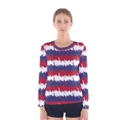 244776512ny Usa Skyline In Red White & Blue Stripes Nyc New York Manhattan Skyline Silhouette Women s Long Sleeve Tee by PodArtist