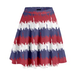244776512ny Usa Skyline In Red White & Blue Stripes Nyc New York Manhattan Skyline Silhouette High Waist Skirt by PodArtist