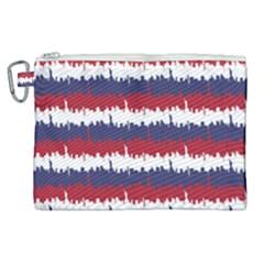 244776512ny Usa Skyline In Red White & Blue Stripes Nyc New York Manhattan Skyline Silhouette Canvas Cosmetic Bag (xl) by PodArtist