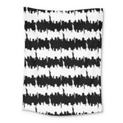 Black & White Stripes Nyc New York Manhattan Skyline Silhouette Medium Tapestry by PodArtist