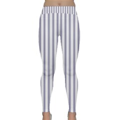 Mattress Ticking Wide Striped Pattern In Usa Flag Blue And White Classic Yoga Leggings