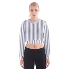 Mattress Ticking Wide Striped Pattern In Usa Flag Blue And White Cropped Sweatshirt
