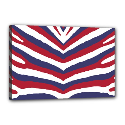 Us United States Red White And Blue American Zebra Strip Canvas 18  X 12  by PodArtist
