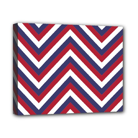 United States Red White And Blue American Jumbo Chevron Stripes Canvas 10  X 8  by PodArtist