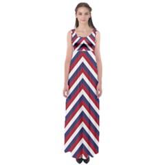 United States Red White And Blue American Jumbo Chevron Stripes Empire Waist Maxi Dress