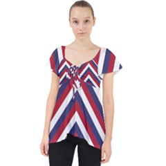 United States Red White And Blue American Jumbo Chevron Stripes Lace Front Dolly Top