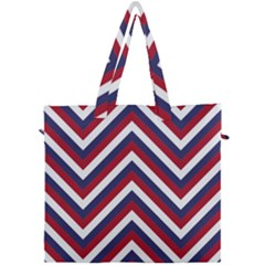 United States Red White And Blue American Jumbo Chevron Stripes Canvas Travel Bag by PodArtist