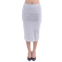 Mattress Ticking Narrow Striped Pattern In Usa Flag Blue And White Midi Pencil Skirt by PodArtist