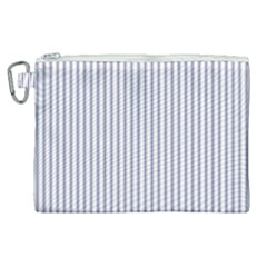 Mattress Ticking Narrow Striped Pattern In Usa Flag Blue And White Canvas Cosmetic Bag (xl) by PodArtist