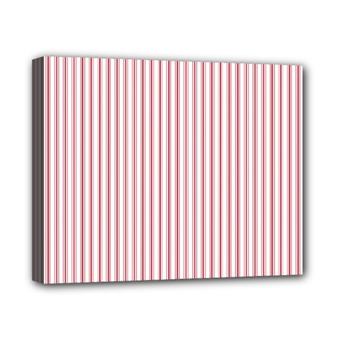 Mattress Ticking Narrow Striped Usa Flag Red And White Canvas 10  X 8  by PodArtist