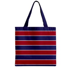 Large Red White And Blue Usa Memorial Day Holiday Horizontal Cabana Stripes Grocery Tote Bag by PodArtist