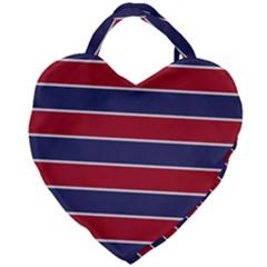 Large Red White And Blue Usa Memorial Day Holiday Horizontal Cabana Stripes Giant Heart Shaped Tote by PodArtist
