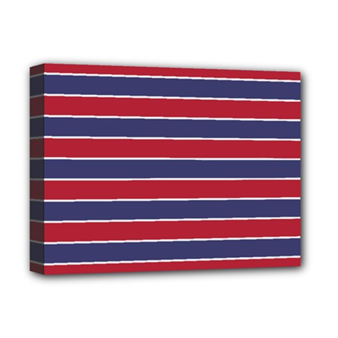 Large Red White And Blue Usa Memorial Day Holiday Pinstripe Deluxe Canvas 16  X 12   by PodArtist