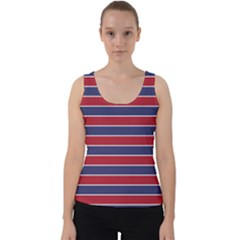 Large Red White And Blue Usa Memorial Day Holiday Pinstripe Velvet Tank Top