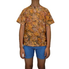 Leaves Motif Pattern Photo 2 Kids  Short Sleeve Swimwear