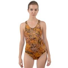 Leaves Motif Pattern Photo 2 Cut Out Back One Piece Swimsuit