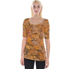 Leaves Motif Pattern Photo 2 Wide Neckline Tee