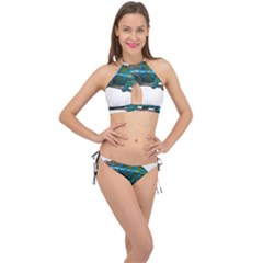 Reptile Lizard Animal Isolated Cross Front Halter Bikini Set