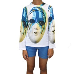 Porcelain Mask Minature Mask Kids  Long Sleeve Swimwear