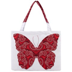 Butterfly Red Fractal Art Nature Mini Tote Bag by Sapixe