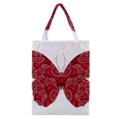 Butterfly Red Fractal Art Nature Classic Tote Bag