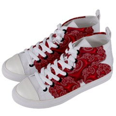 Butterfly Red Fractal Art Nature Women s Mid Top Canvas Sneakers by Sapixe