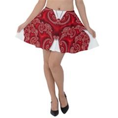 Butterfly Red Fractal Art Nature Velvet Skater Skirt
