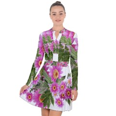 Daisies Flowers Arrangement Summer Long Sleeve Panel Dress by Sapixe