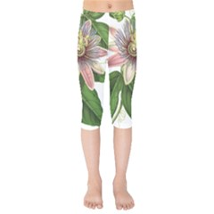 Passion Flower Flower Plant Blossom Kids  Capri Leggings  by Sapixe