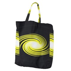 Fractal Swirl Yellow Black Whirl Giant Grocery Zipper Tote by Sapixe