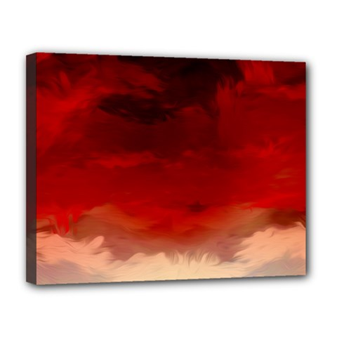 Flaming Skies Ominous Fire Clouds Canvas 14  X 11