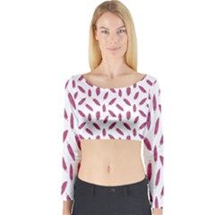 Cacao Fruits Pattern Long Sleeve Crop Top