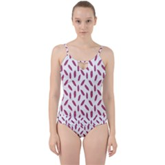 Cacao Fruits Pattern Cut Out Top Tankini Set