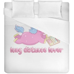 Long Distance Lover   Cute Unicorn Duvet Cover (king Size) by Valentinaart