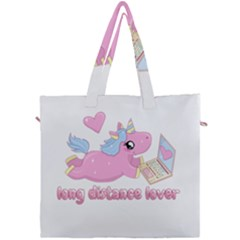 Long Distance Lover   Cute Unicorn Canvas Travel Bag by Valentinaart
