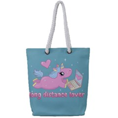 Long Distance Lover   Cute Unicorn Full Print Rope Handle Tote (small) by Valentinaart