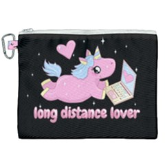 Long Distance Lover   Cute Unicorn Canvas Cosmetic Bag (xxl) by Valentinaart