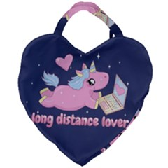 Long Distance Lover   Cute Unicorn Giant Heart Shaped Tote by Valentinaart